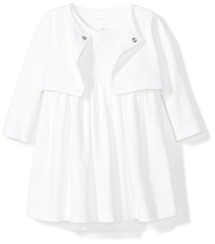 Moon and Back Baby Girls 2-Piece Organic Dress and Cardigan Set, White Cloud, 3-6 -