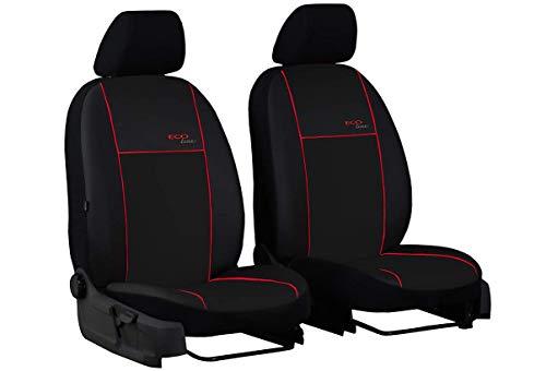 Ecoline Universele kunstleren stoelhoezen voor autostoelen, 1 + 1, compatibel met VW Caddy voor voorstoelen met rode…