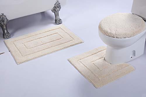 Luxury Home Collection 3 Piece Microfiber Bathroom Rug Set Non-Slip Bathroom Rug Contour, Mat and Toilet Lid #673 (White, 3 PCE Set) ()