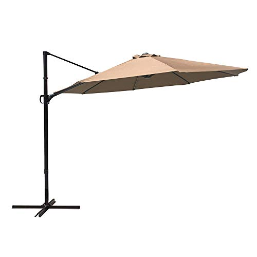 (COBANA 10ft Cantilever Offset Patio Umbrella with Vertical Tilt and 360 Degree Rotation Function, Beige)