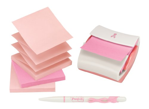 Post-it Pop-up Notes Dispenser for 3 x 3-Inch Notes, Breast Cancer Awareness, Includes Notes and Pen by Post-it
