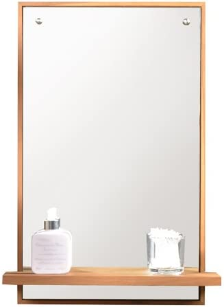 Solid Teak Bathroom Mirror With Shelf Attached 65x45 New Tikamoon Amazon Ca Home Kitchen