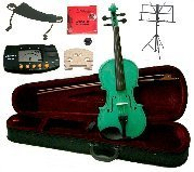 Merano 14'' Green Viola with Case and Bow+Extra Set of Strings, Extra Bridge, Shoulder Rest, Rosin, Metro Tuner,Black Music Stand, Mute