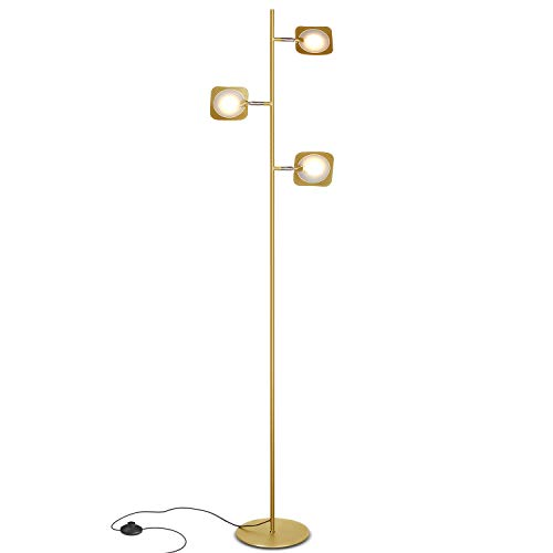 Brightech Tree Spotlight LED Floor Lamp - Very Bright Reading, Craft and Makeup 3 Light Standing Pole - Modern Dimmable & Adjustable Panels, Minimal Space Use - Antique Brass