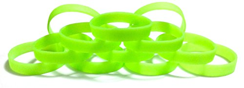 1 Dozen Multi-Pack Glow in The Dark Wristbands Silicone Rubber Bracelets (Light Green Glow-in-The-Dark, Adult (8