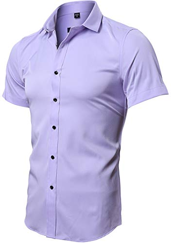 Mens Tailored Short Sleeve Button Down Shirt with Stretch, Violet, US S