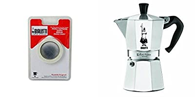 Bialetti 6800 Moka Express 6-Cup Stovetop Espresso Maker w/Replacement Gasket and Filter for 6 Cup from Bialetti