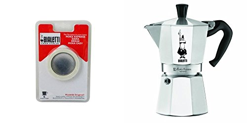 Bialetti 6800 Moka Express 6-Cup Stovetop Espresso Maker w/Replacement Gasket and Filter for 6 Cup ()
