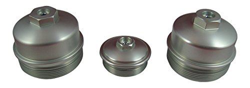 No Pressure Port (AccurateDiesel 6.0L Powerstroke Billet Aluminum 3 Piece Cap Set - Oil Filter AND Upper / Lower Fuel Filter Caps with Pressure)