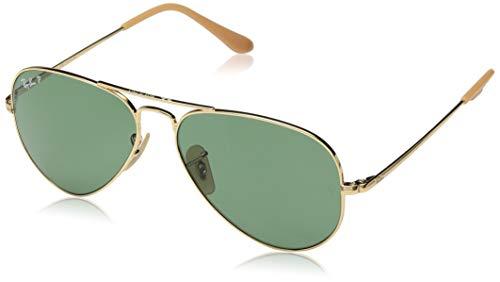 Ray Ban Aviator Gold Green Polarized - Ray-Ban RB3689 Aviator Sunglasses, Gold/Polarized Green,