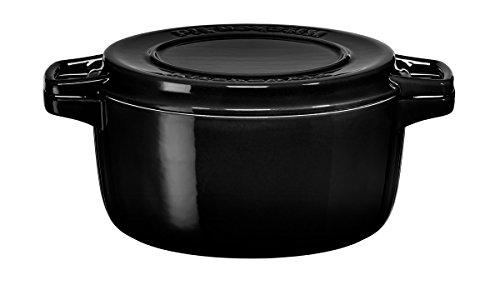 KitchenAid KCPI40CROB Cast Iron Casserole with Lid, Diameter 24 cm, Onyx...