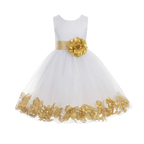 ekidsbridal Wedding Pageant Flower Petals Girl White Dress with Bow Tie Sash 302a 10