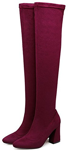 IDIFU Womens Sweet Zip Up Pointed Toe High Block Heeled Faux Suede Over Knee High Booties Wine Red CMgXo