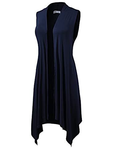 H2H Womens Loose Fit Casual Open Front Draped Sleeveless Cardigan DARKNAVY US L/Asia L (CWOCASL01) - Draped Sleeveless