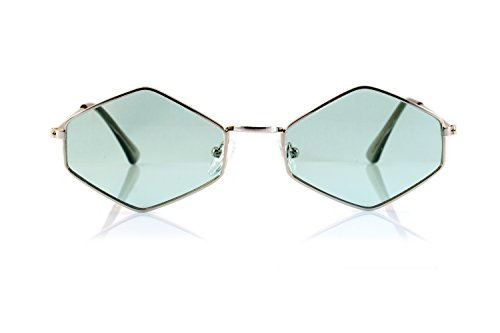 FBL Minimalist Diamond Hexagonal Sunglasses Smoke Pop Color Tinted A112 (Silver/ Mint - Green Colour Smoke
