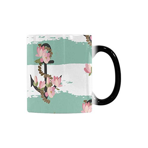 InterestPrint Retro Vintage Floral Magnolia Heat Sensitive Coffee Mug, Color Changing Morphing Tea Cup Cocoa Cup Soup Cup Funny, 11 Ounce for Hot and Cold Drinks