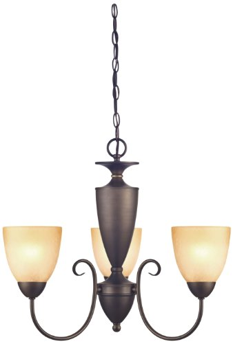 Westinghouse 6223000 Chapel Hill Three-Light Interior Chandelier, Oil Rubbed Bronze Finish with Antique Amber Scavo Glass