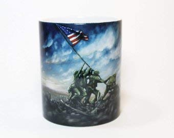 (Iwo Jima Mug, Flag Raising at Iwo Jima, USA Mug, Mt Suribachi, United States Army, US Marines, Veterans, United States Flag,)