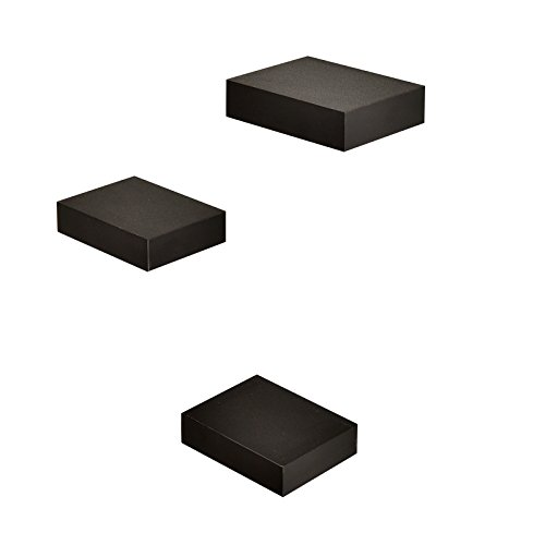 WELLAND Small Size Square Wall Showcase Display Shelves, Set of 3 -