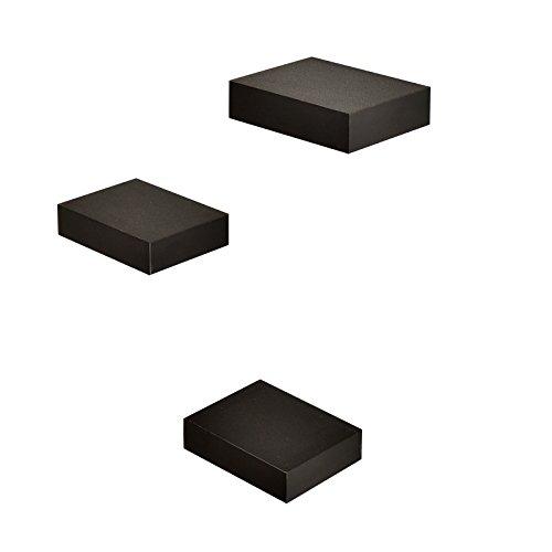 WELLAND Showcase Display Shelves, Black, Set of 3 (Shelf Black Wall Small)