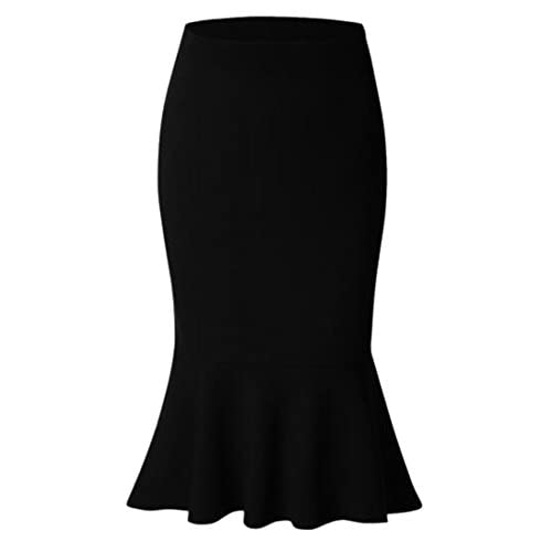 New Cromoncent Womens Plus Size Bodycon Stretchy Mermaids Knee Length Pull On Skirts for sale