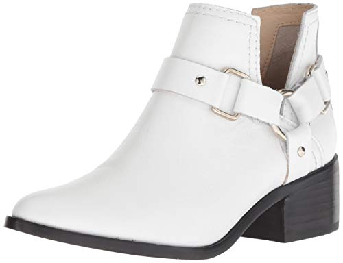 STEVEN by Steve Madden Women's LEE Fashion Boot, White Leather, 6.5 M US