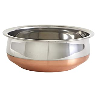 "IMUSA USA Copper South Asian 8.5"" Stainless Steel Handi with Beautiful Bottom"