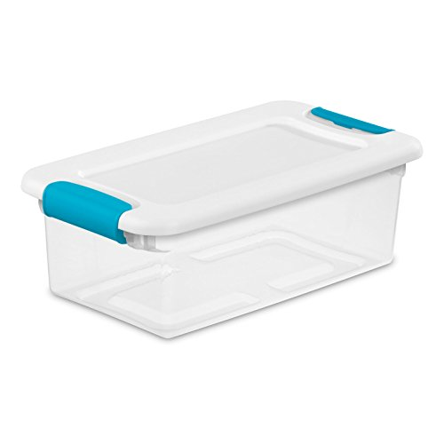 Sterilite 14928012 6 quart/5.7 L Latching Box with Clear Base, White Lid and Colored Latches, -