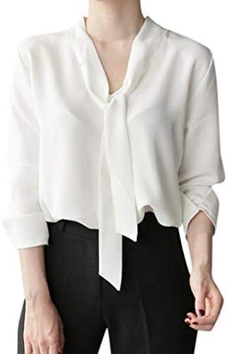 Blusas y Camisas Manga Larga Mujer, fiosoji Camisa con Cuello en V y Lazo de Temperamento Temperamento Tops de Gasa Camisa de de Color Liso: Amazon.es: Ropa y accesorios