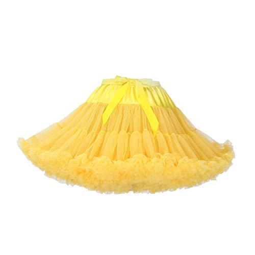 Women's Elastic Waist Chiffon Petticoat Puffy Tutu Tulle Skirt Princess Ballet Dance Pettiskirts Underskirt (Yellow) -