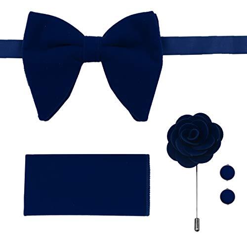 Blue Oversize Pre-Tied Bow Ties Hankchief Cuff Link Lapel Pin Velvet Soild Dark Blue Big Pre-Tied Bow Ties Set Extra Long 21
