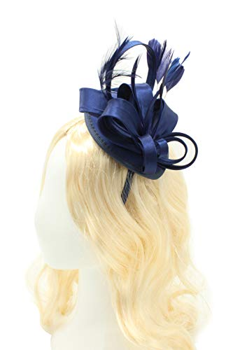 Felizhouse Fascinator Hats for Women Ladies Feather Cocktail Party Hats Bridal Headpieces Kentucky Derby Ascot Fascinator Headband (#1 Satin Navy)