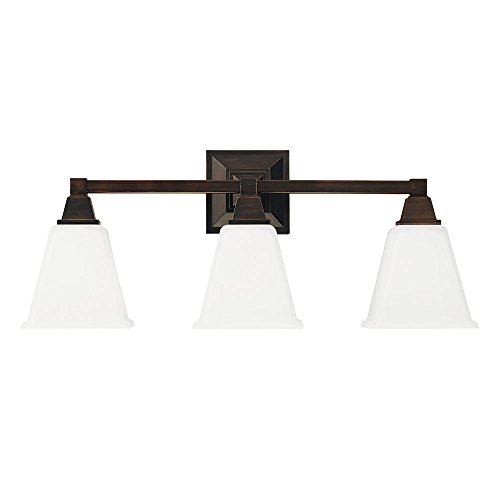 Sea Gull Lighting 4450403-710 Denhelm Three-Light Bath or Wall Light Fixture with Etched White Inside Glass, Burnt Sienna (Sienna Three Light Bath)