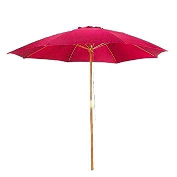 9u0027 Bright Red Patio Umbrella   Outdoor Wooden Market Umbrella Product SKU:  UB58023