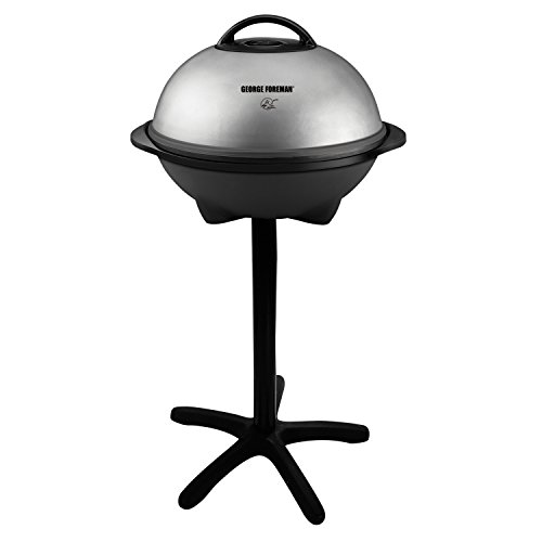 George Foreman 15-Serving Indoor/Outdoor Electric Grill, Silver, GGR50B (Indoor Stovetop Smokeless Grill Grill It)