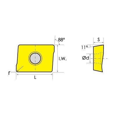 HHIP 6010-4203 APKT-1003 TiN Coated Shoulder Milling Insert (10 mm)