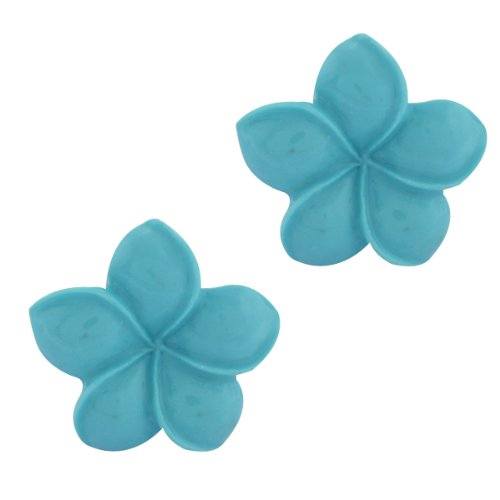 [16MM 925 Sterling Silver Simulated Blue Cyan Coral Carved Rose Flower Earrings] (Simulated Coral Earrings)