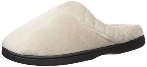 Dearfoams Womens Velour Quilted Clog Slippers (Large, Pewter)