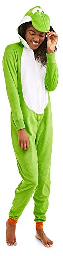 Super Mario Women's Faux Fur Licensed Sleepwear Adult Costume Union Suit Pajama (M, Yoshi)]()