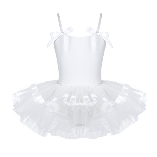TiaoBug Girls Sequined Camisole Ballet Dance Tutu Dress Sweetheart Leotard (7-8, White (Straps with Bowties))