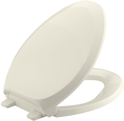 (KOHLER K-4713-47 French Curve Quiet-Close with Grip-Tight Bumpers Elongated Toilet Seat, Almond)