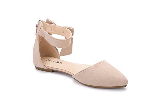 Mila Dam Jocelyn Mode Nya Ankelband Med Rosett Spetsiga Tå Kvinnas Mode Lägenheter Nakna