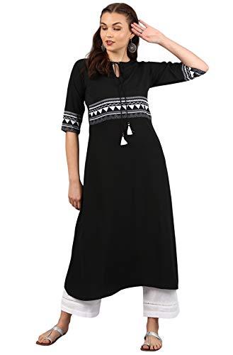 Janasya Indian Tunic Tops Crepe Kurti Set for Women (SET001-KR-SP-L) Black
