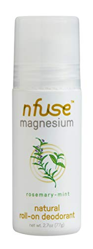 nfuse Natural Magnesium Roll-on Deodorant - Innovative Patented Magnesium Technology - Ultra Nourishing - Aluminum Free, Vegan & Cruelty Free - Rosemary Mint: Relieve + Refresh