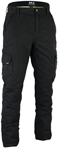 Black Cargo, W32 - L34 Men/'s Motorbike Motorcycle Protective Armaid Padded Reinforced Protective Lining Black Cargo jean Trouser Pant With Free Padding