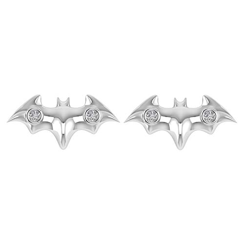 Batman Bird Stud Earrings With Screw Back in 925 Sterling Silver 0.05 Ct Natural Diamond (I1-I2/G-H) (white-gold-plated-silver) ()