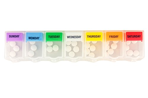 Ezy Dose 2XL Universal Push 'n Pop Pill Reminder with Multi Colored Tabs, Clear, 2-Pack ()