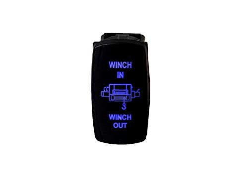 Warn Winch Rocker Switch - WINCH IN OUT OZ-USA SWITCH BLUE LED Laser Rocker UTV TRUCK boat dash POLARIS rv