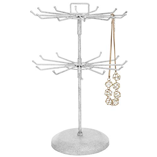 MyGift Vintage White Metal Jewelry Organizer Tower Necklace Tree Bracelet Display Stand w/Hairclip Holder