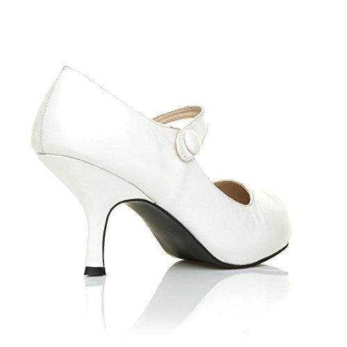 H213 White PU Leather Stiletto Mid Heel Mary Janes Shoes 8NSiFKsj